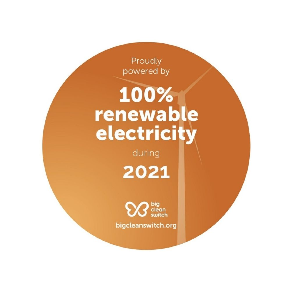 Big Clean Switch badge showing ADCL has committed to using 100% renewable electricity during during 2021